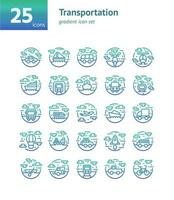 jeu d'icônes de gradient de transport. vecteur et illustration.