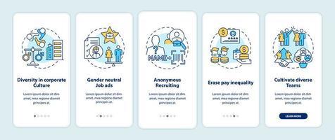 Conseils de mise en œuvre de la diversité des genres Écran de la page de l'application mobile d'intégration avec des concepts