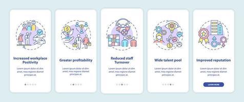 Avantages de la politique de diversité de genre Écran de la page de l'application mobile d'intégration avec des concepts