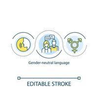 icône de concept de langue neutre de genre