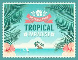 Salutations de carte postale de vecteur de paradis tropical rétro
