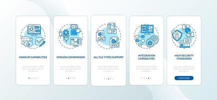 Écran de la page de l'application mobile d'intégration des fonctionnalités de l'outil de révision en ligne avec concepts