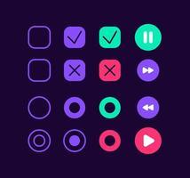 kit d'éléments d'interface utilisateur boutons de lecteur mp3