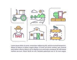 icône de concept de secteur agricole avec texte