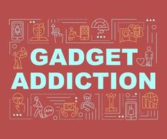 bannière de concepts de mot addiction gadget