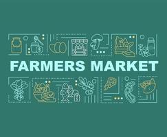 bannière de concepts de mot marché fermier vecteur