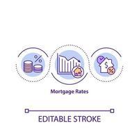 icône de concept de taux hypothécaire