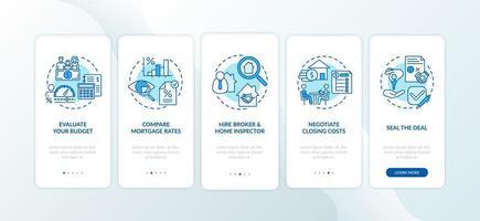 Conseils pour les acheteurs d'une première maison Écran de la page de l'application mobile d'intégration avec concepts