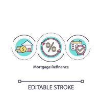 icône de concept de refinancement hypothécaire