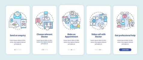 Étapes de consultation télémédicale intégration de l'écran de la page de l'application mobile avec concepts