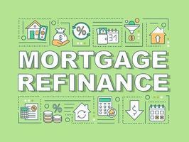 bannière de concepts de mot de refinancement hypothécaire