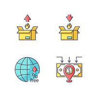 commerce international, taxes douanières jeu d'icônes de couleur rgb. tarifs d'exportation et d'importation, barrières non tarifaires et investissement direct étranger. illustrations vectorielles isolées