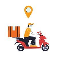 courrier avec masque et véhicule de transport pour la livraison vecteur