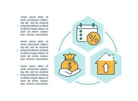 Icône de concept de prêt maison refinancement avec texte