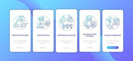 Écran de la page de l'application mobile d'intégration des principes de l'agriculture biologique avec des concepts