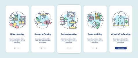 Écran de page de l'application mobile d'intégration de l'innovation agricole avec des concepts