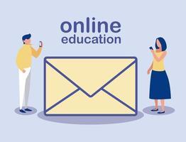 personnes avec smartphones et icône de message, éducation en ligne