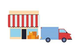 camion de fret effectuant des livraisons au magasin