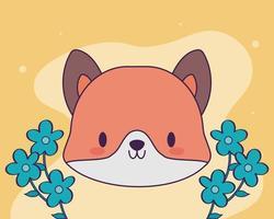 tête de renard kawaii avec des fleurs