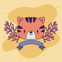 mignon bébé tigre kawaii avec des plantes
