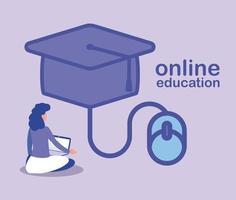 femme avec ordinateur portable faisant une formation ou un apprentissage en ligne vecteur