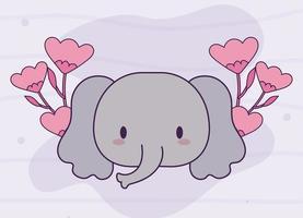 Tête de bébé éléphant kawaii avec des fleurs