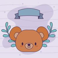 tête d'ours kawaii avec des fleurs