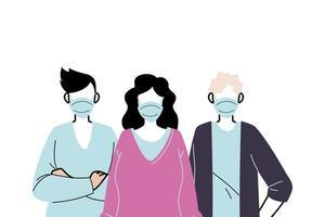jeunes portant des masques faciaux pour prévenir le virus