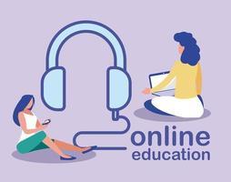 femmes avec des écouteurs et des gadgets, éducation en ligne vecteur