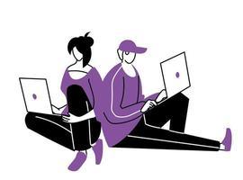 jeune couple utilisant des ordinateurs portables vecteur