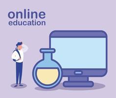 homme avec ordinateur de bureau, éducation en ligne vecteur