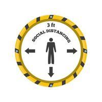 panneau d'avertissement, veuillez garder une distance de sécurité de 3 pieds, risque d'infection à coronavirus vecteur