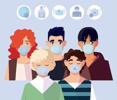femme et hommes avec masques et covid 19 icon set vector design