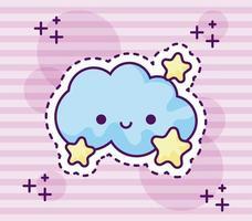 patch de nuage mignon avec des étoiles vecteur