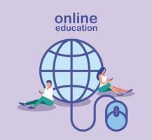 personnes à la recherche d'informations sur le web, formation en ligne vecteur
