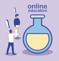 hommes avec tube à essai, éducation en ligne vecteur