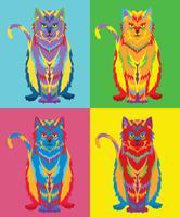 Vecteur de pop art de chat