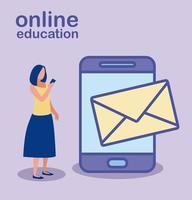 femme avec smartphone pour l'éducation en ligne vecteur