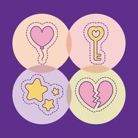 étoiles clés ballon et conception de vecteur de coeur brisé