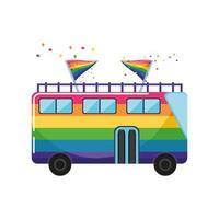 Bus touristique peint avec des couleurs lgbtq sur fond blanc vecteur