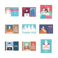 ensemble d'icônes pour la campagne de rester à la maison, prévention des coronavirus