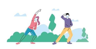 personnes faisant de l'activité physique à l'extérieur dans le parc, mode de vie sain et forme physique
