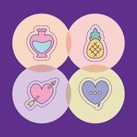 flacon ananas coeur et conception de vecteur de bulle
