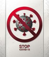 Arrêtez Covid 19, une cellule de coronavirus enfermée dans un symbole d'interdiction