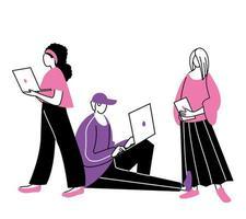 jeunes utilisant des ordinateurs portables et des tablettes vecteur