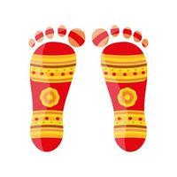 Foot print shubh navratri sur fond blanc vecteur