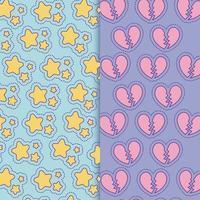 étoiles et conception de vecteur de fond de coeurs brisés