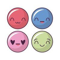 ensemble d'icônes de visage heureux, émoticônes de style kawaii
