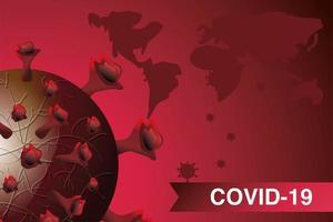 maladie à coronavirus ou covid 19, cellules virales flottantes vecteur