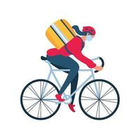 livreuse avec un masque de protection sur une livraison de vélo vecteur